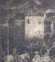 The Fall of the House of Usher - etching by Robert Lawson