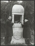 Photograph of Serge Lifar and Bronislava Nijinska at Diaghilev's grave, 21 Dec 1970